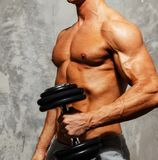 Handsome man with muscular body. Handsome young muscular man exercising with dumbbells Royalty Free Stock Photography
