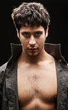 Handsome man with naked breast Royalty Free Stock Images