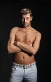Handsome man with naked torso Royalty Free Stock Photo
