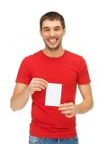 Handsome man with note card Stock Image
