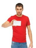 Handsome man with note card Royalty Free Stock Photo
