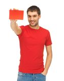 Handsome man with note card Stock Photos