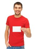 Handsome man with note card Stock Photo