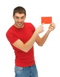 Handsome man with note card Stock Photography