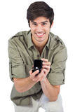 Handsome man offering engagement ring Stock Photo