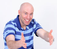 Handsome man with open arms. On white Stock Photo