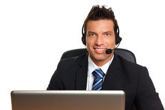 Handsome man operator Stock Photo