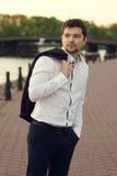 Handsome man outdoor portrait Stock Photography