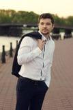 Handsome man outdoor portrait Stock Photos
