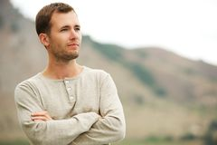 Handsome man outdoors Stock Images