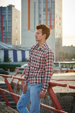 Handsome man outdoors over urban background Stock Photo