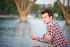 Handsome man outdoors over urban background stock photography