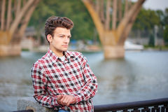 Handsome man outdoors over urban background royalty free stock photos