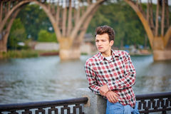 Handsome man outdoors over urban background royalty free stock images
