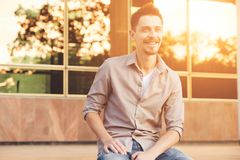 Handsome man outdoors portrait Stock Images