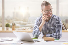 Handsome man on phone Stock Photography