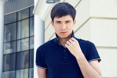 Handsome man, photo of young male model Royalty Free Stock Images