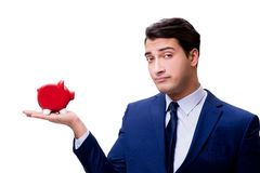 The handsome man with piggybank isolated on white Stock Photography