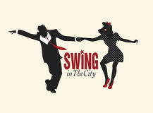 Handsome man and pin-up girl dancing swing. Handsome man and pin-up girl silhouettes dancing swing Stock Images