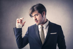 Handsome man playing cards Royalty Free Stock Photography