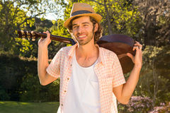 Handsome man playing the guitar Royalty Free Stock Images
