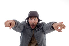 Handsome man pointing towards Royalty Free Stock Photo