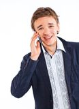 Handsome man portrait talking at the cell phone Royalty Free Stock Photos