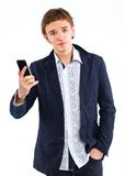 Handsome man portrait talking at the cell phone Stock Photography