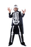 Handsome man posing in skeleton costume Stock Images