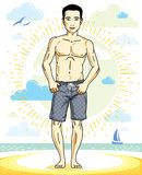 Handsome man posing on tropical beach in colorful shorts. Vector. Character. Summer holidays theme Stock Photography