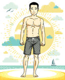 Handsome man posing on tropical beach in colorful shorts. Vector. Character. Summer holidays theme Royalty Free Stock Photos