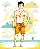 Handsome man posing on tropical beach in colorful shorts. Vector. Character. Summer holidays theme Royalty Free Stock Photography