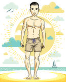 Handsome man posing on tropical beach in colorful shorts. Vector. Character. Summer holidays theme Stock Photos