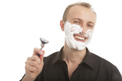 Handsome man preparing to shave Stock Image