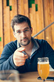 Handsome Man In Pub Stock Photography