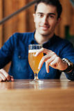 Handsome Man In Pub Royalty Free Stock Photo