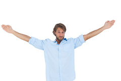 Handsome man raising hands Royalty Free Stock Photos