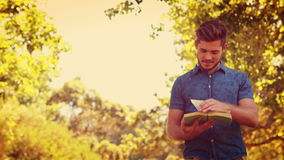 Handsome man reading a book in the park stock video footage
