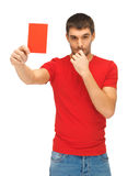 Handsome man with red card Stock Photos