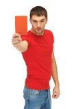 Handsome man with red card Royalty Free Stock Images
