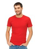 Handsome man in red shirt royalty free stock images