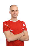 Handsome man in a red t-shirt Stock Photo