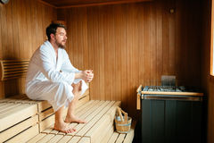 Handsome man relaxing in sauna Royalty Free Stock Photos