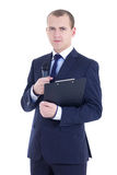 Handsome man reporter in suit with microphone and clipboard isol. Ated on white background Stock Image