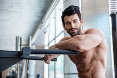 Handsome man resting near parallel bars Stock Image