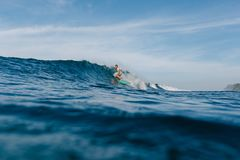 Handsome man riding waves on surfboard. On sunny day royalty free stock photo