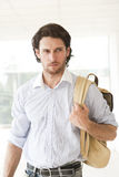 Handsome man with a rucksack. Traveler with a rucksack or back pack Stock Image
