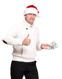 Handsome man in santa hat Stock Photos