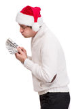 Handsome man in santa hat Stock Image