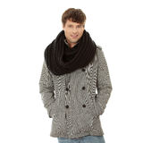 Handsome man in scarf and coat Royalty Free Stock Image